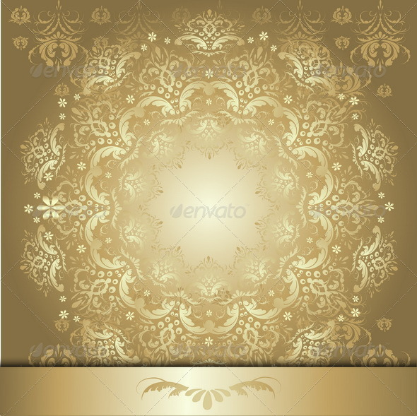 Pattern with Gold Ribbon - Decorative Vectors