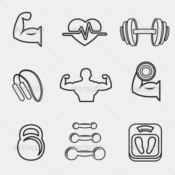 Fitness Bodybuilding Sport Icons Set - Web Technology
