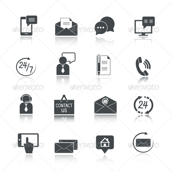 Contact Us Service Icons Set - Web Icons