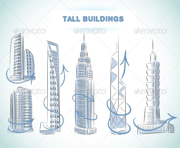Buildings Icons Set of Modern Skyscrapers - Buildings Objects