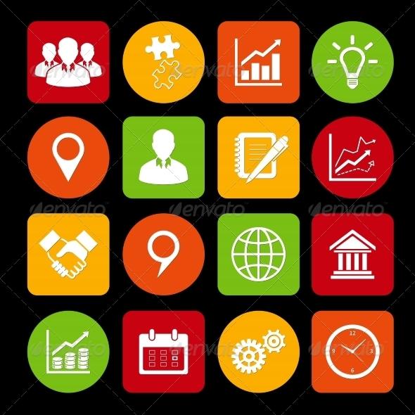 Business Icons Set and Design Elements - Web Elements Vectors