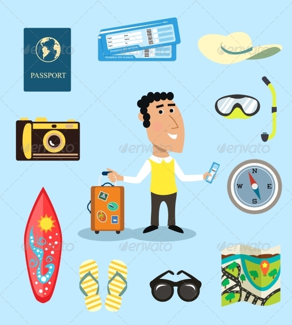 Vacation or Business Traveler Character Set - People Characters