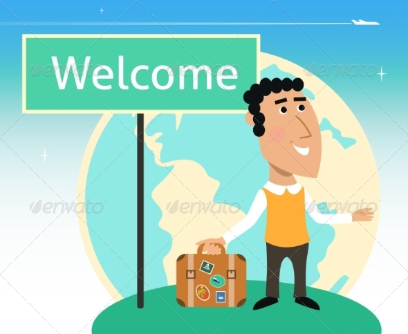 Vacation or Business Traveler Character - Travel Conceptual