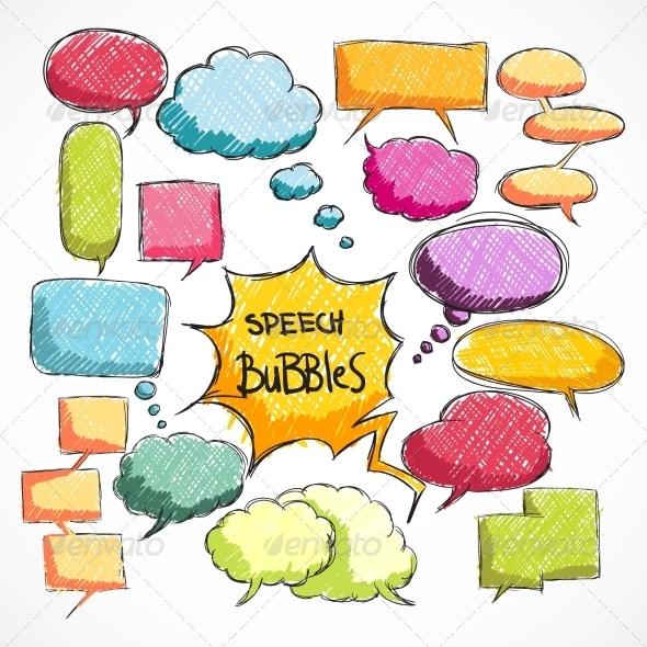 Doodle Comic Chat Bubbles Collection - Web Elements Vectors