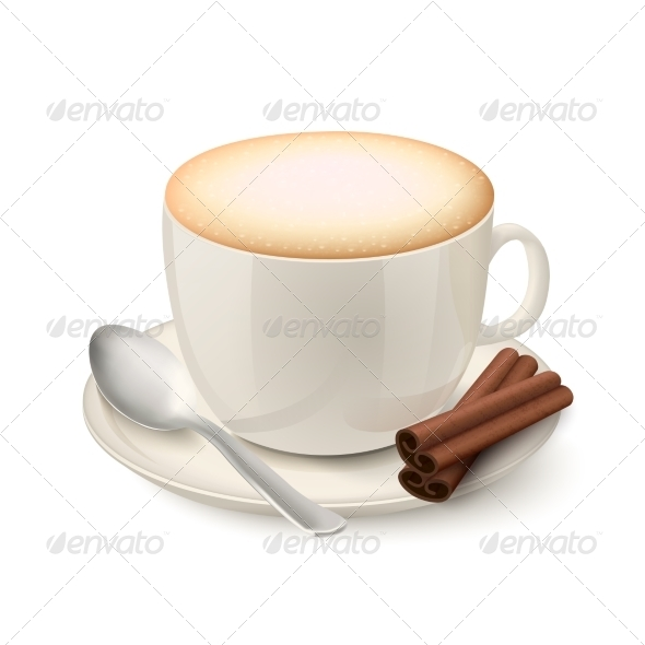 Realistic White Cup Filled with Cappuccino - Food Objects