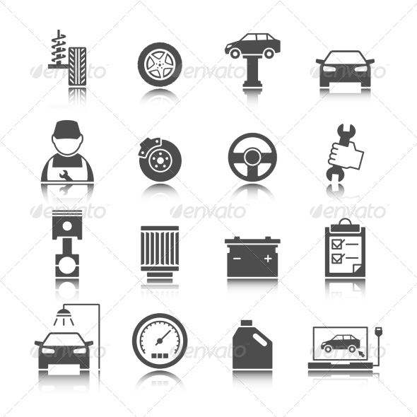 Car Auto Service Icons Set - Web Elements Vectors