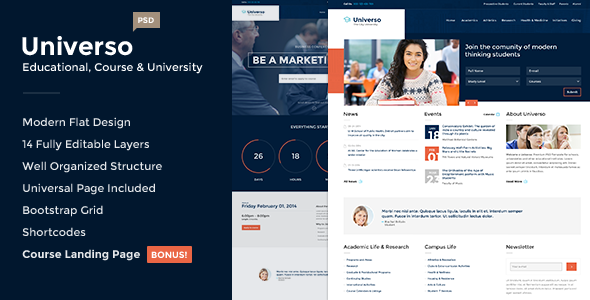 Universo – Educational, Course and University PSD