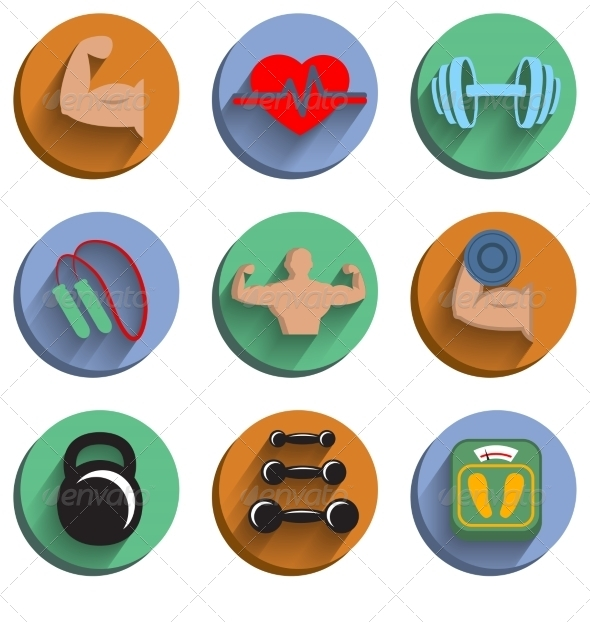 Fitness Bodybuilding Sport Icons Set - Sports/Activity Conceptual