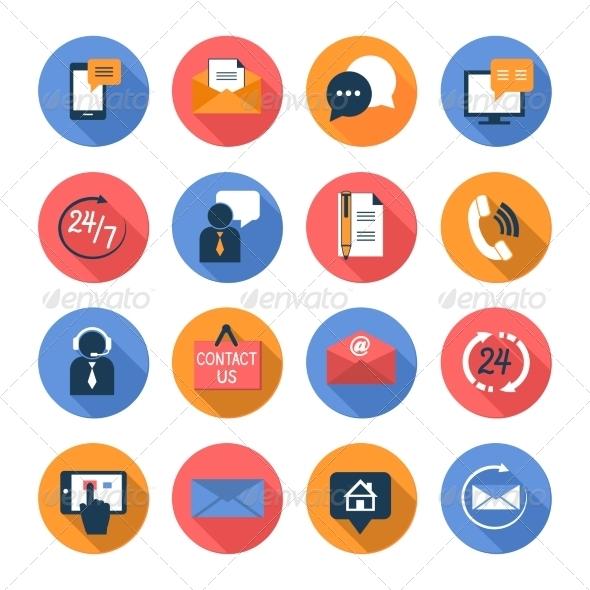 Customer Care Contacts Flat Icons Set - Web Elements Vectors