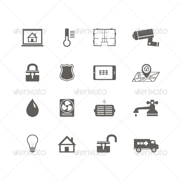 Smart Home Automation Technology Icons Set - Web Elements Vectors