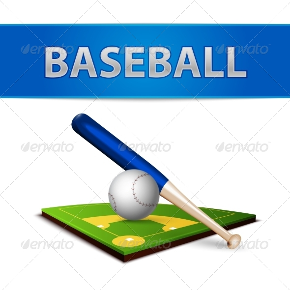 Baseball Ball Bat and Green Field Emblem - Sports/Activity Conceptual