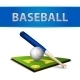 Baseball Ball Bat and Green Field Emblem - GraphicRiver Item for Sale