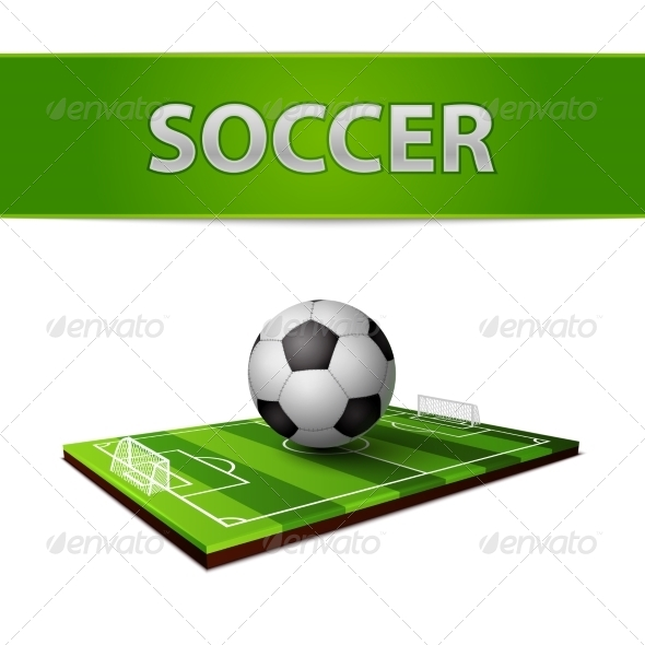 Soccer Ball and Grass Field Emblem - Sports/Activity Conceptual