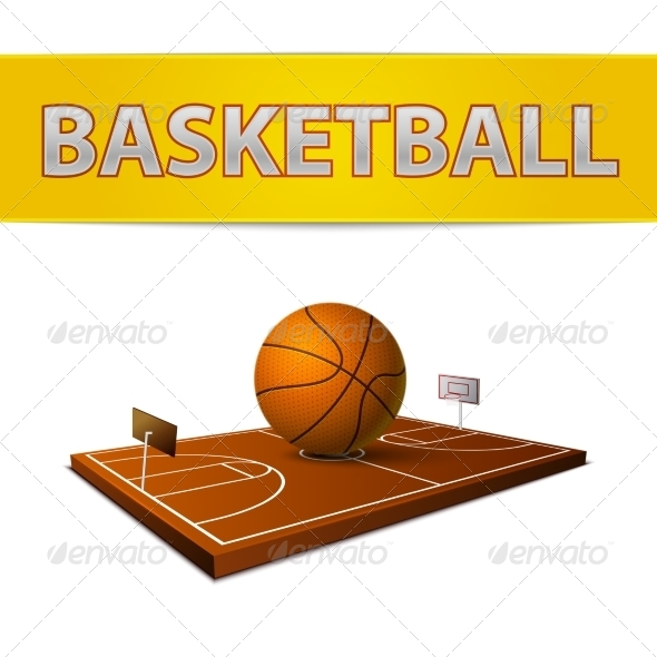 Basketball Ball and Field with Rings Emblem - Sports/Activity Conceptual