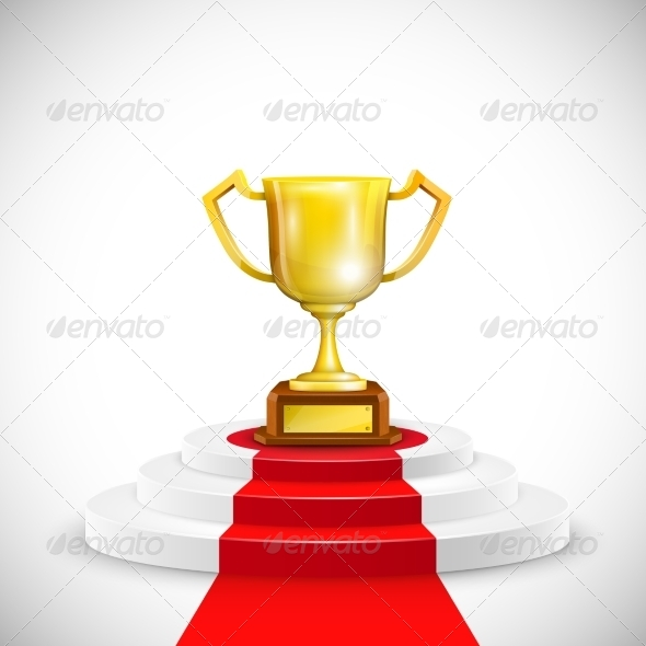 Podium With Red Carpet And Trophy Cup. - Concepts Business