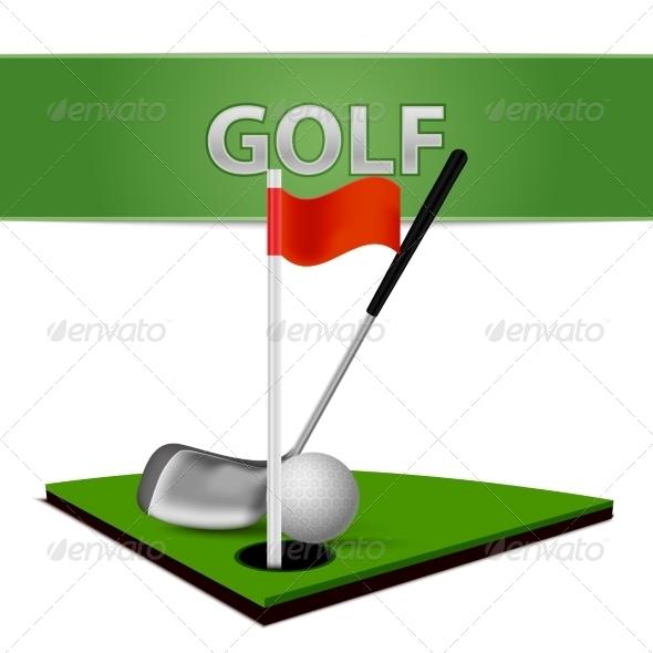 Golf Ball Club and Green Grass Emblem - Sports/Activity Conceptual