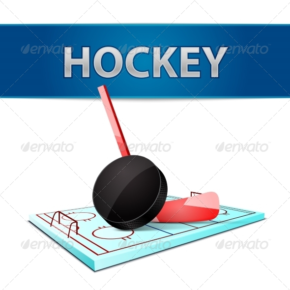 Hockey Stick Puck and Ice Arena Emblem - Sports/Activity Conceptual