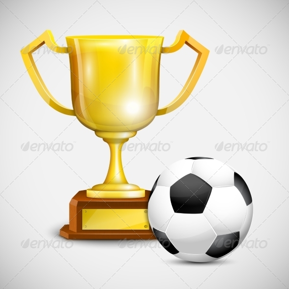 Gold Cup With Soccer Ball. - Sports/Activity Conceptual