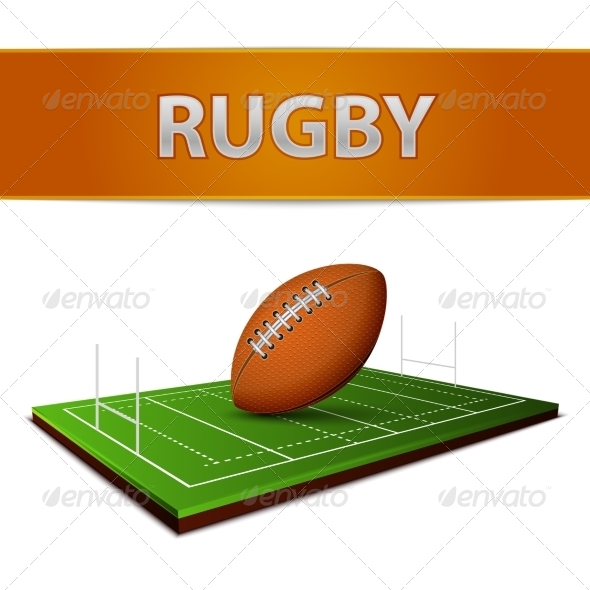 Football or Rugby Ball Emblem - Sports/Activity Conceptual