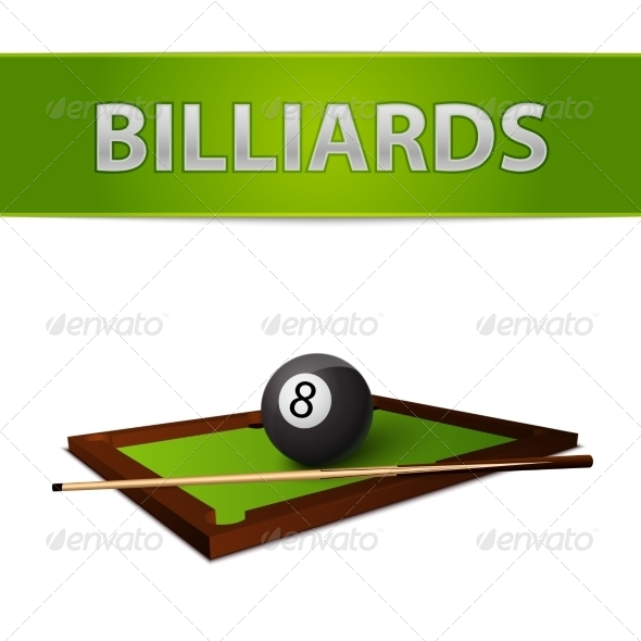Billiards Ball with Stick on Green Table Emblem - Sports/Activity Conceptual
