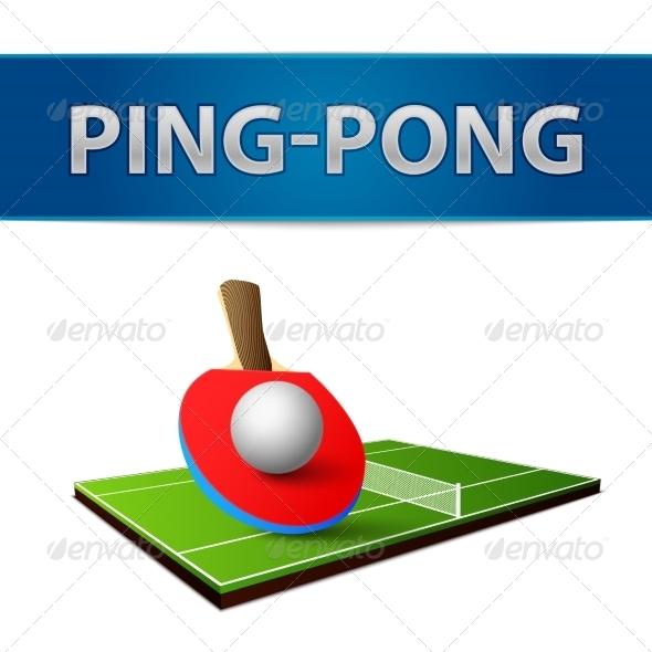 Table Tennis Pingpong Rackets Emblem - Sports/Activity Conceptual