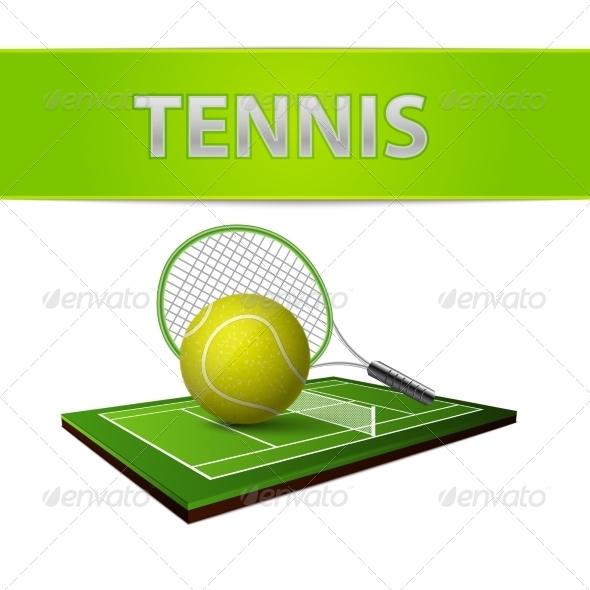 Tennis Ball and Green Grass Field Emblem - Sports/Activity Conceptual