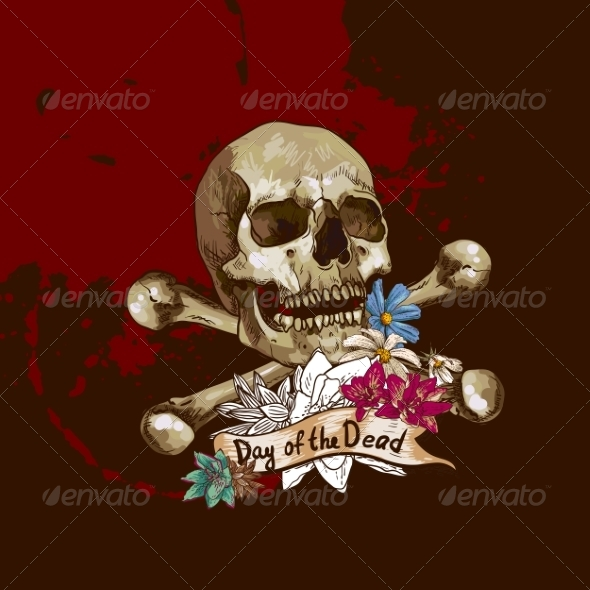 Skull and Flowers Vector Illustration - Patterns Decorative