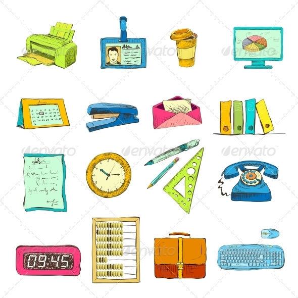 Business Office Stationery Supplies Icons Set - Business Icons