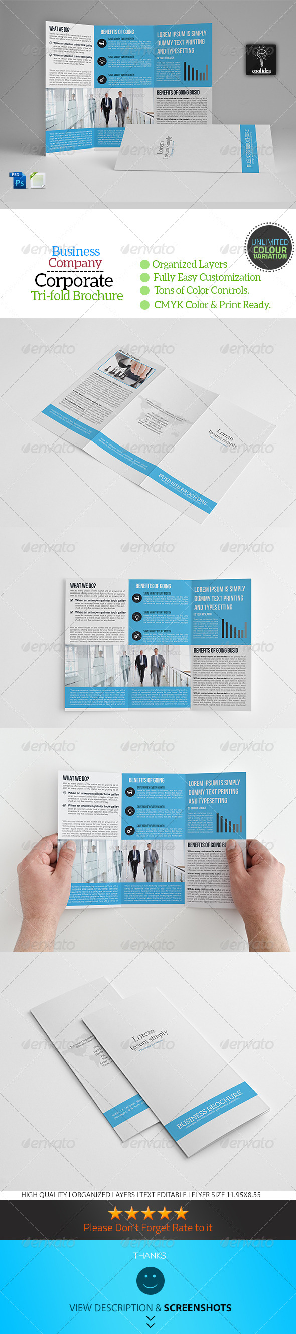 A4 Trifold Business Brochure Template Vol05 - Corporate Brochures