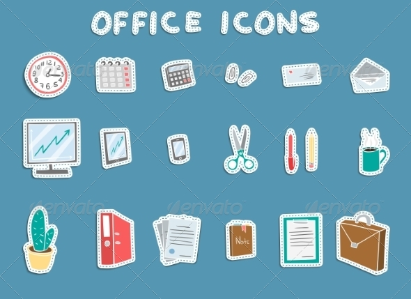 Business Office Sticker Icons Set - Business Icons