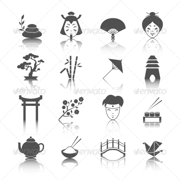 Japanese Culture Icons Set - Web Icons