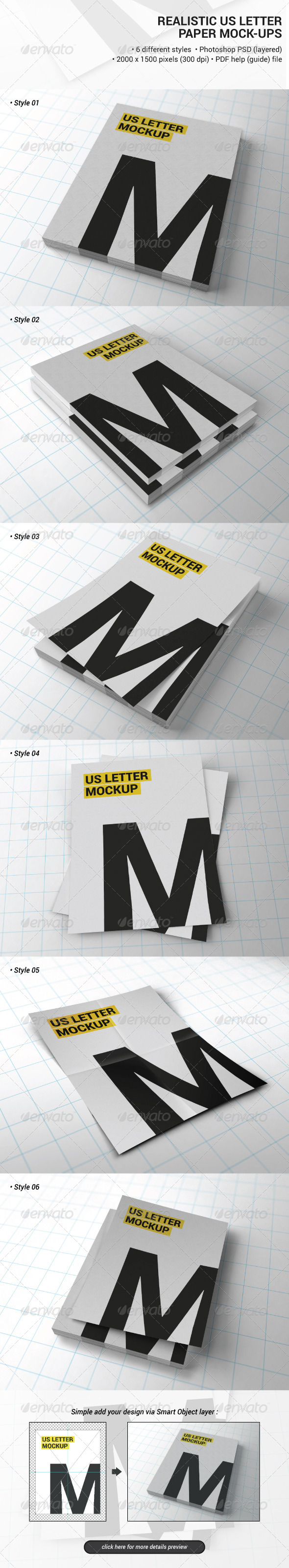Realistic Us Letter Paper Mock-ups - Product Mock-Ups Graphics
