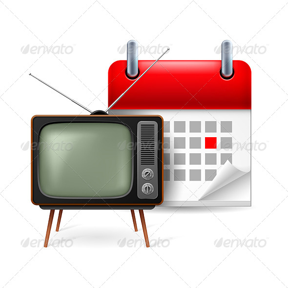Old TV-Set and Calendar - Miscellaneous Vectors