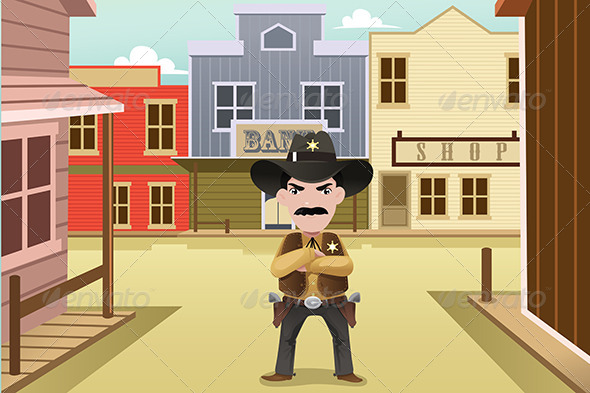 Sheriff Standing on an Old Western Town - Buildings Objects