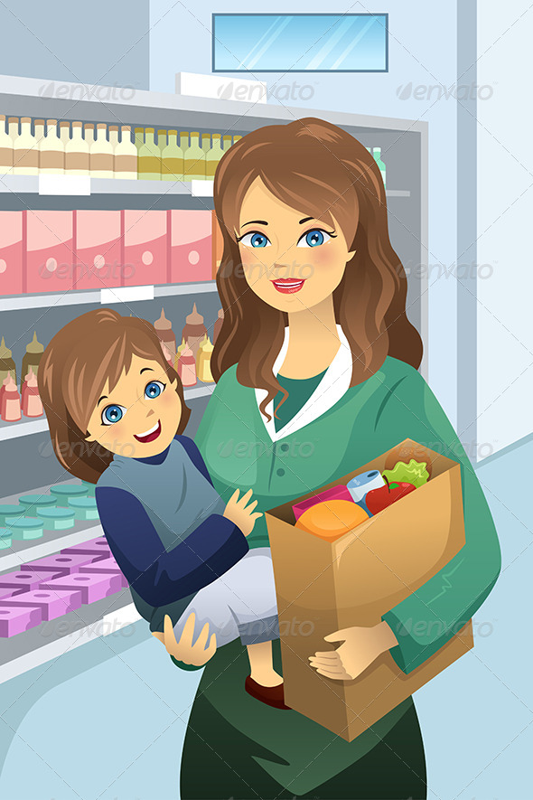 Mother Carrying Child and Groceries - Commercial / Shopping Conceptual