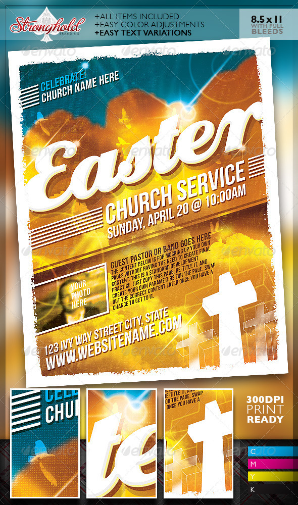 Easter Sunday Church Service Flyer Template - Church Flyers