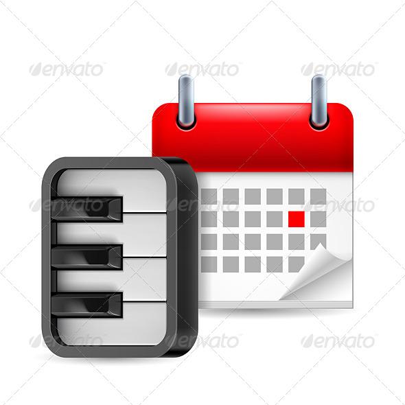 Piano and Calendar - Miscellaneous Vectors
