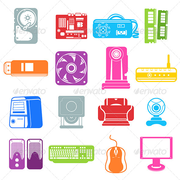 Computer Component Icons - Computers Technology