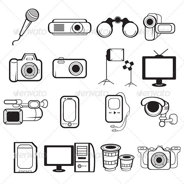 Electronic Equipment Icons - Technology Conceptual