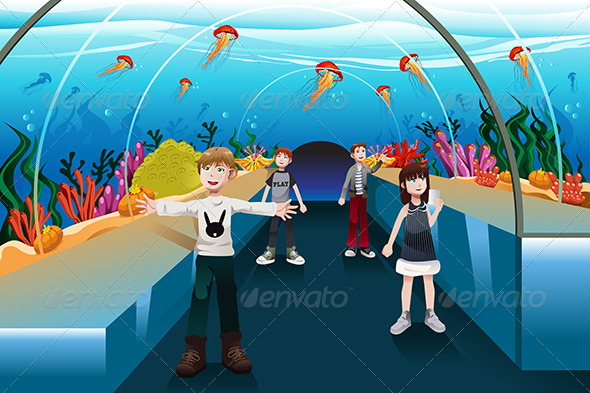 Kids Looking at Jellyfish - People Characters