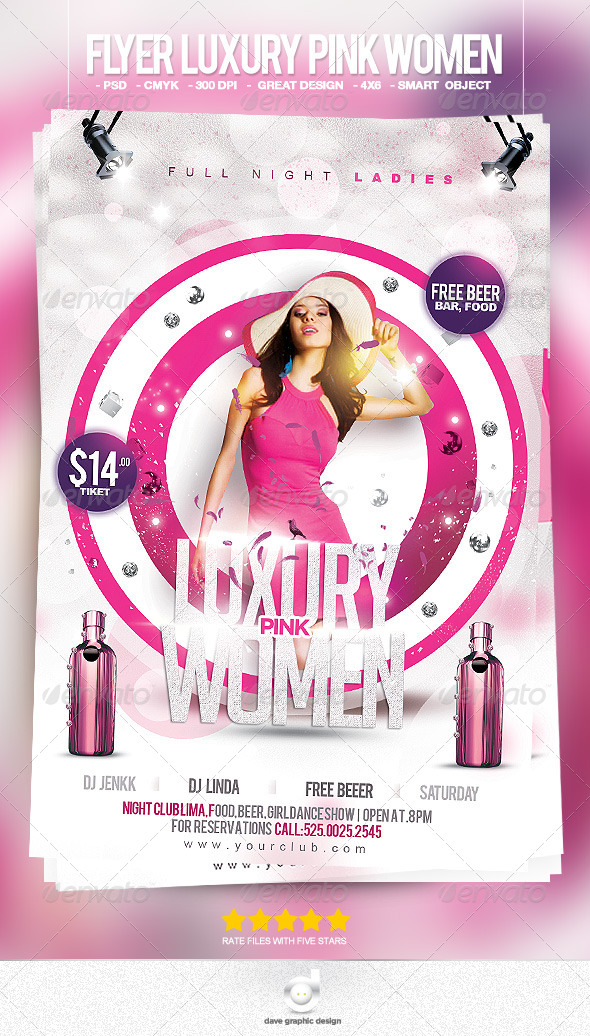 Flyer Luxury Pink Women - Clubs & Parties Events