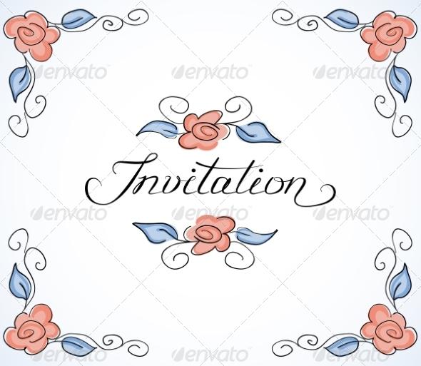 Invitation Card with Floral Pattern - Decorative Symbols Decorative