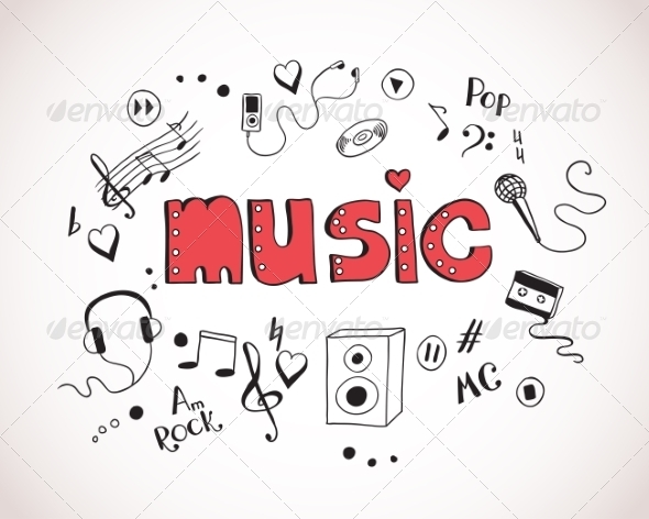 Background with Music Elements - Decorative Symbols Decorative
