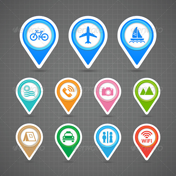 Map Pins Travel Icons Set  - Travel Conceptual