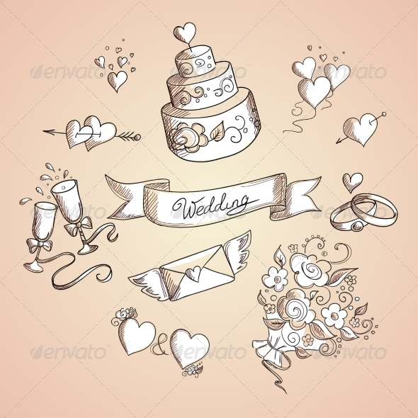 Sketch of Wedding Design Elements - Weddings Seasons/Holidays