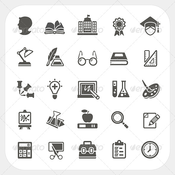 Education Icons Set - Conceptual Vectors