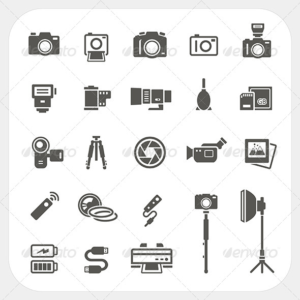 Camera Icons and Camera Accessories Icons Set - Media Technology