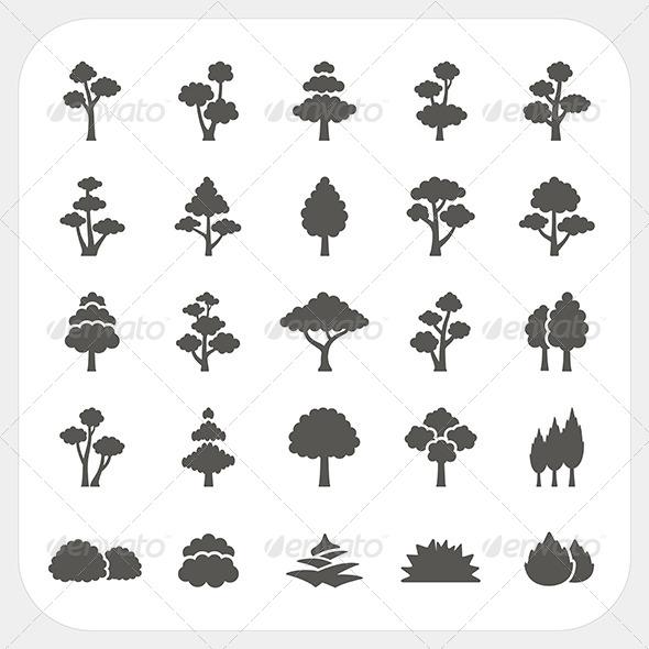 Tree Icons Set - Nature Conceptual