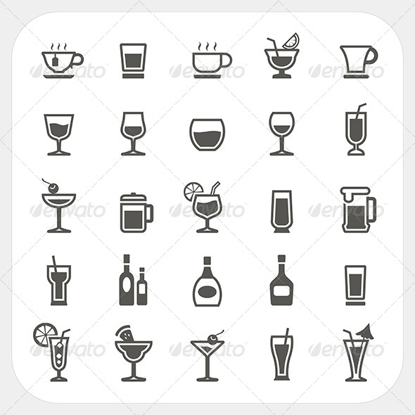 Drink and Beverage Icons Set - Food Objects