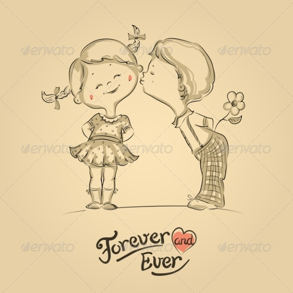 Boy and Girl Kissing - Valentines Seasons/Holidays